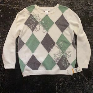 NWT Alfred Dunner Diamond Chenille Sweater Floral
